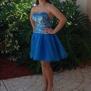Blue strapless hand made dress